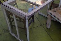 Window pane desk / Reclaimed windows