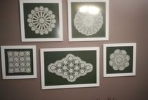 lace decorations / antique lace framed