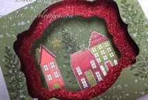 Typ blahopřání: Diorama / Cards in dioráma style. Countryside, winter landscape, beautiful 3D card.