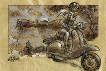 Mallorca y motos / Ilustraciones de lugares de la isla de Mallorca en los que aparece una moto, dibujado por Rafel Vaquer y disponibles en Spaint