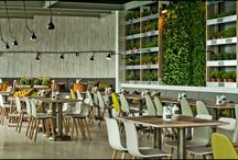 Mercado / Energy, aromas and taste of a modern urban market, living green wall full of herbs and flowers, relaxed ambient. Fresh ingredients, organic products, also available vegetarian and gluten-free dishes, traditional lemonades, organic syrup, fresh juices or smoothies.