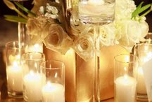 Gold and white party ideas / Gold and white table settings and ideas