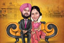 Wedding Caricatures / We do customized wedding caricatures for wedding invite. It can be used for wall decor, wedding backdrop, e wedding card etc.