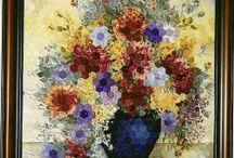 Blommor av textil