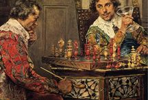 Chess players on paintings