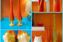 Glass - Orange Slag Art Glass
