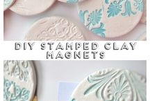 Stamped clay magnet