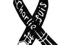 Charlie Hebdo ribbon / Honoring the victims of Charlie Hebdo.
