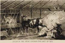 Great Chicago Fire 1871 / The devastation of the great fire in Chicago, which was started by a cow when it kicked over a lantern.