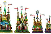 Creches from Crocow / Polish colorful creches from Crocow made of aluminum foil traditionally taken from sweets and chocolates.  Nativities refers to Mariacki Church in Crocow.