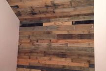 Pallets / Pallet wood accent wall.  / by Nichole Touchet