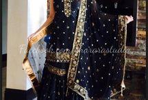 Black silk Gharara / Beautiful silk Gharara with zari, dabka and stone work