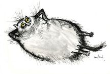 Searle & Kliban cats / Searle  characterises our struggles, insecurities and anxieties through facetious feline expression . Kliban's bizarre cats are a strange and unlikely satire or beauty that brings a smile