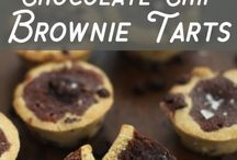 Chocolate chip brownie tarts