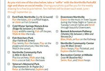 """Northville Parks RX Photos / The Department and St. John Providence have partnered to ensure Northville community members are leading healthy, active lifestyles. This is your prescription to bike, swim, run, play or walk to better health. As you visit one of the sites below, take a """"selfie"""" with the Northville Parks RX sign and share on social media. Sharing your photo qualifies you for the weekly drawing for a free bicycle helmet. Two helmets will be drawn each week. June 1 through September 30, 2015."""