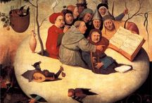 Hieronymous Bosch / Hieronymus Bosch, born Jeroen Anthonissen van Aken (c. 1450 - August 9, 1516) was an Early Netherlandish painter of the fifteenth and sixteenth centuries. Many of his works depict sin and human moral failings.  Bosch used images of demons, half-human animals and machines to evoke fear and confusion to portray the evil of man.  His works contain complex, highly original, imaginative, and dense use of symbolic figures and iconography, some of which was obscure even in his own time.