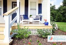 Nautical Navy & White Porch / Outdoor Decor & Inspiration for adding curb appeal