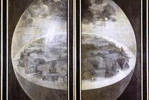 Courant : Flamands - Jan van Eyckn (Primitif Flamand), Jérôme Bosch (Renaissance) et les Brueghel / Van Eyck est le fondateur du portrait occidental : vu des trois-quarts, tourné vers la gauche, des yeux qui fixent souvent le spectateur, une innovation radicale. Il a porté la peinture à l'huile à la perfection : réalisme des détails, rendu des matières.  Bosch représente la fin du Moyen Âge et son œuvre veut inspirer une terreur dévote.  Les personnages de Bruegel ronds, sont très éloignés des corps bien proportionnés de la Rennaissance : il montre des paysans dans leur quotidien. / by Cally