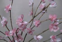 Flores  de papel y de tela