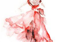 akvarel baletky