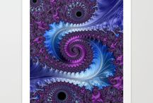 Feathery Flow - Fractal Art Design by Jillian Amatt / This board is for all of you purple lovers out there.  This elegant design reminds me of 2 feathers wrapping themselves into each other.  It is elegant and it is bold!