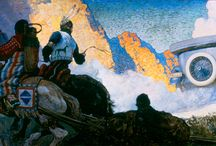 N.C. Wyeth / One of America's most famous illustrators, N. C. Wyeth (1882-1945) created illustrations for magazines and new editions of popular adventure books, such as Treasure Island and The Last of the Mohicans. Wyeth also painted scenes of the American West, drawing inspiration from a 1904 trip as well as older revered artists of the American West such as Frederic Remington (1861-1909). Wyeth's paintings of the West often feature cowboys and American Indians in dramatic scenes.