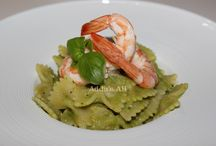 Pasta / Pasta with shrimps and peas cream