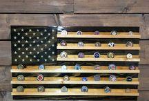 Challenge Coin Holders - Handmade Wood Flags