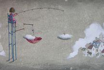 my art works - project: L'INVISIBILE PORTA DEI SOGNI / dream illustrations art