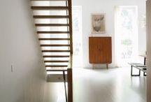 scala con pannello in legno
