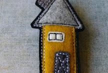тканевые домики / изображение домиков из ткани и пряжи