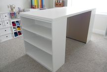 CRAFT TABLE / 2 bookshelves + ikea table top