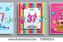 Birthday card idea vector design
