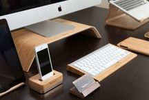 Desk Collection / All handmade from our exotic stock of bamboo and walnut, introducing our Maderacraft desk collection.  This collection includes our monitor stand, bluetooth keyboard holder, iPhone docking station, iPhone holder and tablet holder.