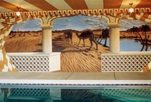 Moroccan Themed Mural by Tom Taylor of Wow Effects, painted around an indoor pool. / Moroccan Murals throughout an indoor pool area.