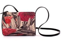 Horizontal Tube - Walking Through Red Fields / Women Leather Handbags, Limited Edition Designer Leather Bag COLOURS OF MY LIFE - Limited Edition wearable art signed by Anca Stefanescu.