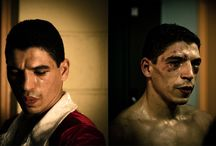 Boxing : fighter's portraits / Portrait of the boxers just before & just after getting in the ring to let imagine what happens meanwhile…