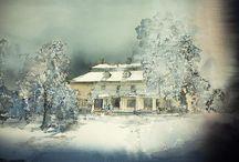 akvarell hus å sånt..