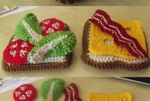 Crochet pillow food