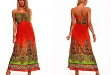 Maxi letní šaty bez ramínek zelenooranžové
