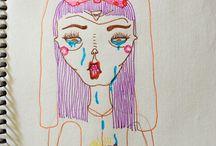 Tinta y/o lápiz y diversión. Dibujos míos.