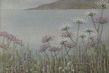 Embroidered felted landscapes