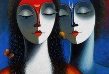 Santosh Chattopadhyay, wlad-safronow et Ira Tsantekidou Paintings / peinture
