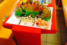 Dinosaur Cake / Chocolate rocks and added bonus for the kids