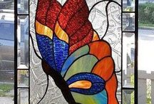 Butterfly in Flight stained glass