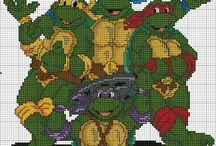 Haft krzyżykowy - Żółwie Ninja