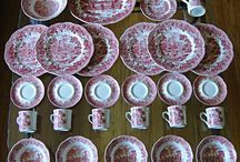 HOME: CRANBERRY OR RED TRANSFERWARE / Dishes that are red and white.