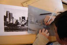kuvataide 5.-6. luokka: arkkitehtuuri, tekninen piirtäminen, grafiikka