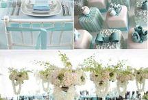 decoração para noivado (azul/branco)