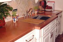 """Beauty of Copper / Copper is America's Kitchen Tradition. The ageless deep tones of Copper create a warm inviting glow to any kitchen. Copper is a """"living"""" material and will tarnish and change color naturally. Copper provides a hygienic, anti-bacterial surface for food preparation and is Easy to Clean, Heat Resistant, and Stain Resistant. It can be cleaned with specialty cleansers to be restored to its """"new penny"""" original look at any time."""